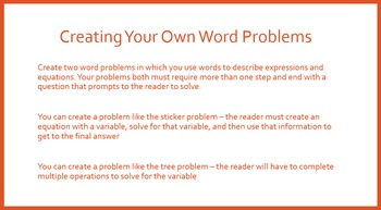 Writing Expressions and Equations - Intro to Algebraic Expressions PowerPoint