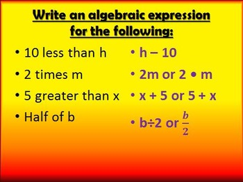 6.EE.A.2 Writing Expressions