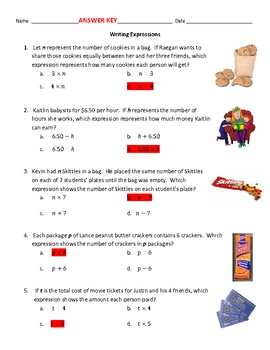 Writing Expressions from Word Problems ~ Mult. or Div.