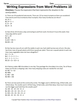 Writing Expressions from Word Problems Worksheet Packet