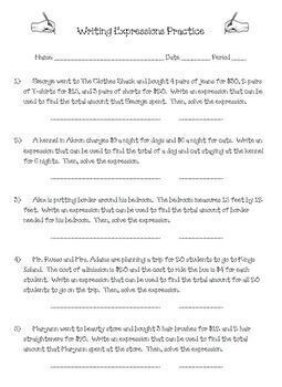 Writing Expressions from Word Problems and Solving Practice