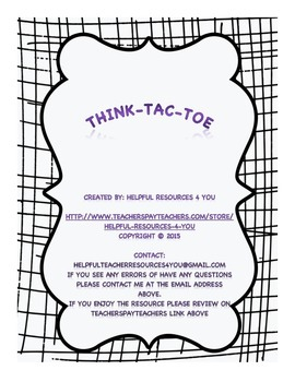 Writing Expressions/Equations Think-Tac-Toe