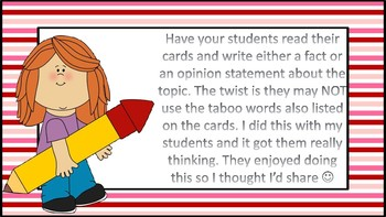 Writing Fact and Opinion Statements Taboo Style Task Cards