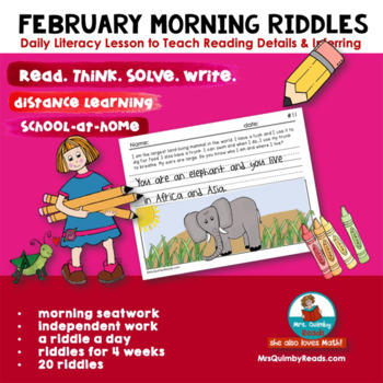 Writing | February Riddles | Literacy | Printables