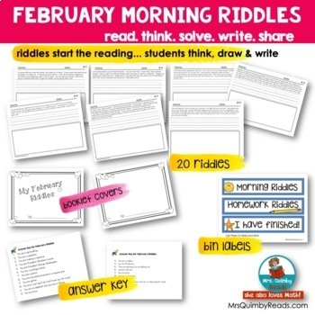 February Writing | Riddles | Literacy | Printables