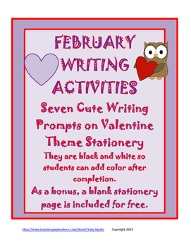 Writing, February Writing, Valentine's Day Writing, Cinquain,Stationery