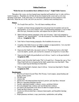Writing Final Exam - CCSS Aligned