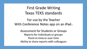 Writing - First Grade Assessment For Texas TEKS