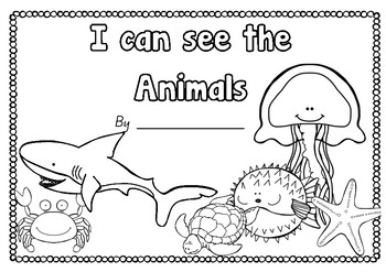 Writing Flip book (I can see..) Ocean Animals