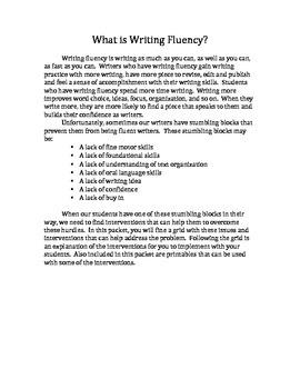 Writing Fluency Interventions 3-5