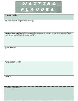 Writing Focus Planner