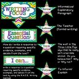 Writing Focus Wall Bulletin Set ~ HOT AIR BALLOON colors Themed