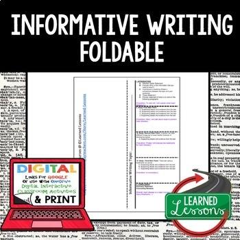 Writing Foldable Bundle Narrative, Literary Analysis, Persuasive, Informative
