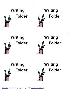 Writing Folder:  Labels