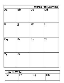 Writing Folder- Mini Word Wall