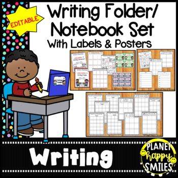 Writing Folder/Notebook Set with Labels ~ EDITABLE