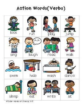 writing folder verbs action words by kinder garden of literacy tpt