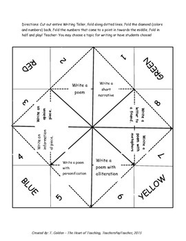 Writing Fortune Teller Game