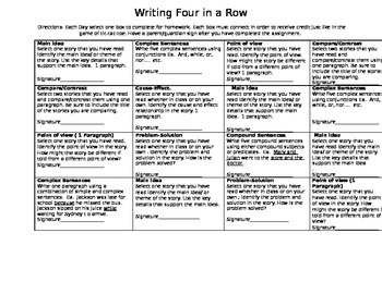 Writing Four in a Row Homework Sheet