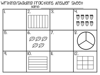 Writing Fraction Task Cards