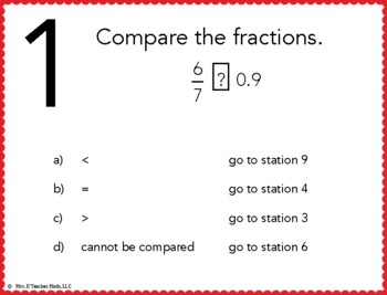 Writing Fractions as Decimals Stations Maze