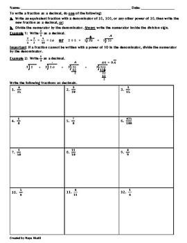 Writing Fractions as Decimals Worksheet