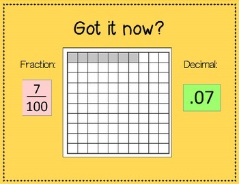 PowerPoint Presentation- Writing Fractions as Decimals with Models, Assessment