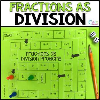 Writing Fractions as Division Problems Board Game