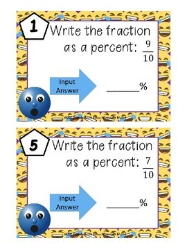 Writing Fractions as Percents Boom Cards--Digital Task Cards