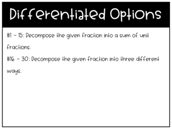 Writing Fractions as Sums Task Cards