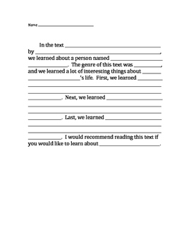 Writing Frame for Biography Summary Paragraph