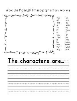 Writing Frames for Beginning Writers