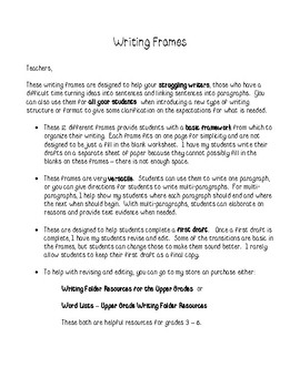 Writing Frames for Informational, Narrative, Opinion Writing and More