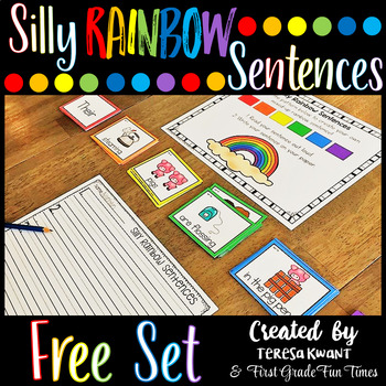 Silly Rainbow Sentences Writing Prompts Freebie