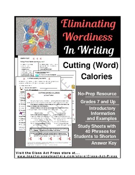 Writing Fun: Eliminating Wordiness (4 Pages, Answer Key Included, $3)