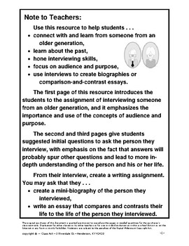 Informational Writing: Interview Someone from An Older Generation (3 Pages, $3)