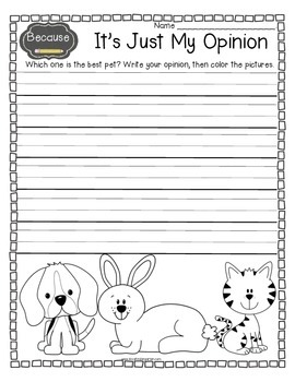 Writing Fun!  Opinions, Fiction, and All About Me in Kindergarten
