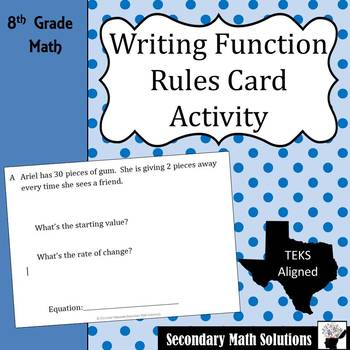 Writing Function Rules Card Activity