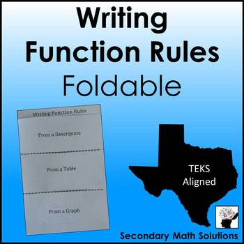 Writing Function Rules Foldable