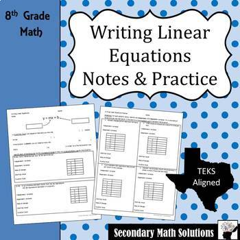 Writing Linear Equations Notes & Practice (8.5B, 8.5I)