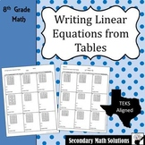 Writing Linear Equations from Tables Notes & Practice (8.5B, 8.5I)