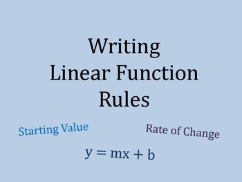 Writing Linear Function Rules PowerPoint