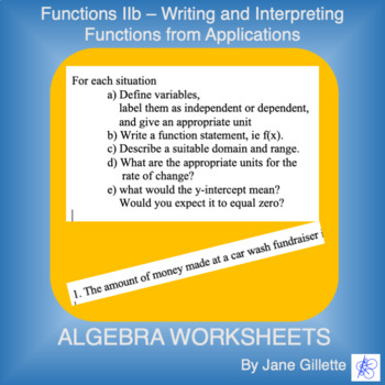 Writing Function Statements and Understanding Applications or Models