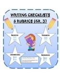 Writing Genre Checklists and Rubrics Grade 3-Common Core Standards