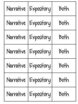 Writing Genre Sort: Narrative vs. Expository