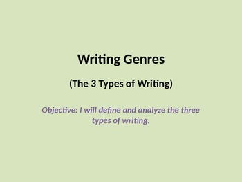 Introduction to Narrative, Argument and Informative; Writing Genres Overview