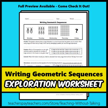 Writing Geometric Sequences Worksheet