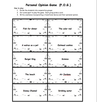 Writing:  Getting Started with Personal Opinion Essays
