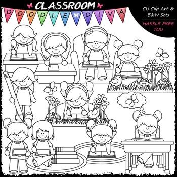 Writing Girls - Clip Art & B&W Set