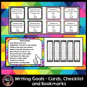 Writing Goal Cards, Checklist and Bookmarks
